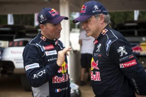 Stephane Peterhansel (FRA) and Carlos Sainz of Team Peugeot Total talk during the tests prior Rally Dakar 2017 in Asuncion, Paraguay on December 30, 2016